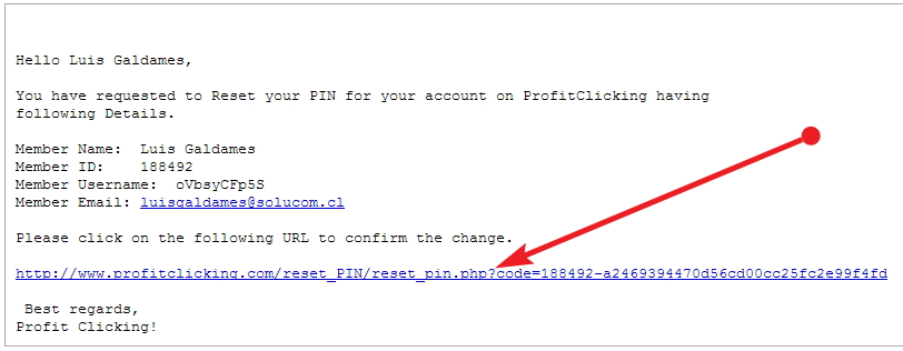 Profit Clicking security PIN pide Email
