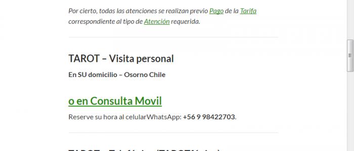 Tarot Osorno Chile Menu Visita Personal